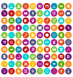 100 plan icons set color vector