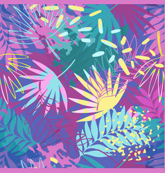 Abstract exotic leaves seamless pattern vector