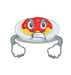 angry spaghetti character cartoon style vector image