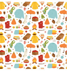 autumn icons stickers hand drawn seamless vector image
