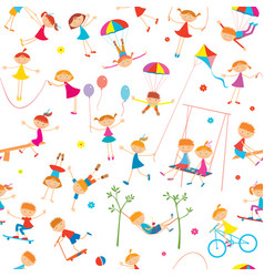 Background with playing children vector