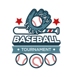Baseball tournament promotional emblem with vector