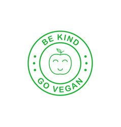 Be kind go vegan green line style circle sticker vector