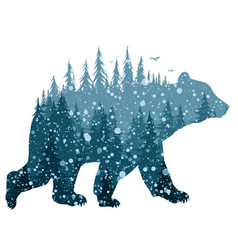 Bear with winter forest vector