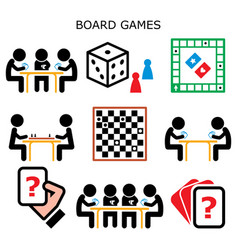 board games people playing cards and chess icons vector image