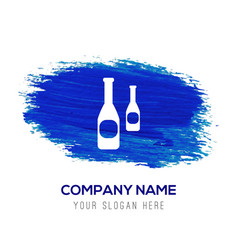 bottles icon - blue watercolor background vector image