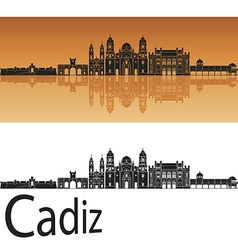 Cadiz skyline in orange vector