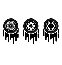 Car wheels painting set vector