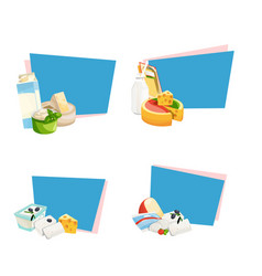 cartoon dairy and cheese products stickers vector image