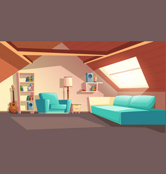 Cartoon empty garret room attic interior vector