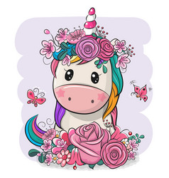 Cartoon unicorn with flowers on a white background vector