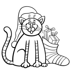Cat and christmas sock coloring book vector