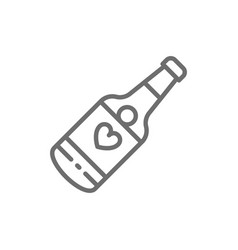 champagne bottle wedding drink line icon vector image