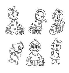 collection of school cartoon children vector image