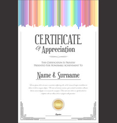 colorful certificate template 1 vector image