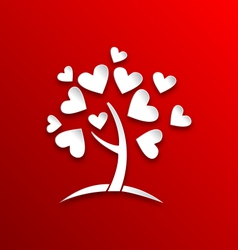 Concept of tree with heart leaves paper cut style vector