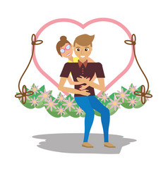 Couple lovely with cute swing vector