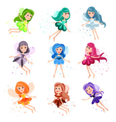 Cute cartoon flying colorful girly fairies set of vector