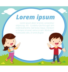 cute children present and white board vector image