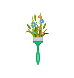 cute spring bouquet in paint brush handle vector image