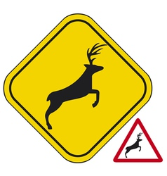 Deer crossing traffic warning sign vector image