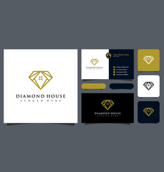 Diamond and house logo design and business card vector