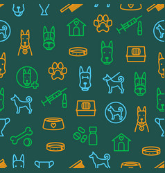 dogs and puppy thin line seamless pattern vector image