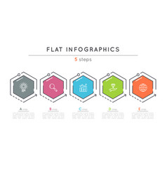 flat style 5 steps timeline infographic template vector image