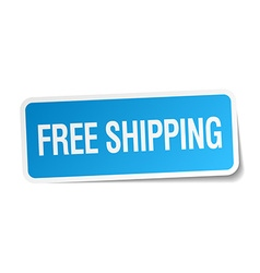 Free shipping blue square sticker isolated on vector