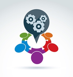 Gears and cogs teamwork theme icon conceptual vector