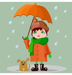 Girl with an umbrella and a puppy vector