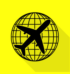 globe and plane travel sign black icon with flat vector image