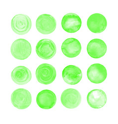 green isolated watercolor paint circle vector image