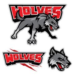 Grey wolf mascot vector