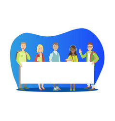 group young people standing together and vector image