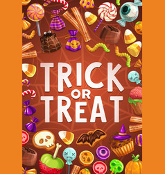 halloween candies and sweets with spider net vector image