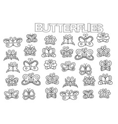 hand drawn butterflies set coloring book page vector image