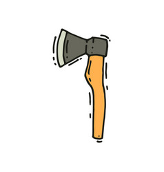 hand drawn icon of axe camping equipment vector image