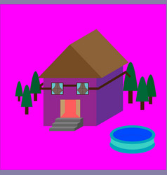 House with pool vector