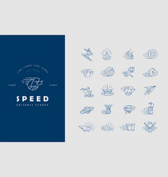 Icon and logo for speed editable outline vector