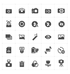 Icon set - camera and photograph filled icon vector