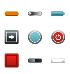 Internet buttons icons set flat style vector