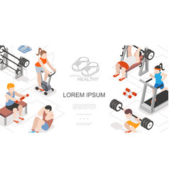 isometric fitness and sport composition vector image
