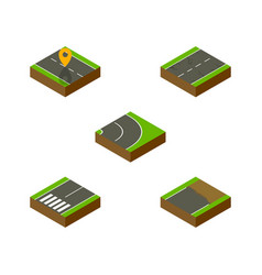 Isometric road set of unfinished cracks vector