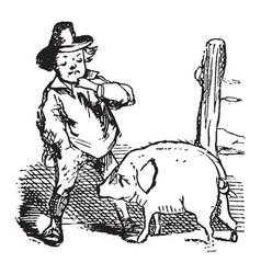 Jack sprats pig vintage vector