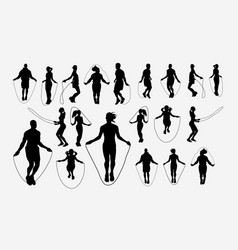 jumprope sport activity silhouette vector image