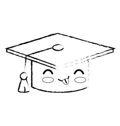 Kawaii graduation cap icon vector