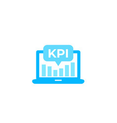 Kpi icon with laptop and analytics vector
