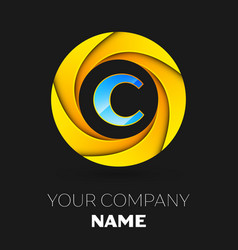 Letter c logo symbol in the colorful circle vector