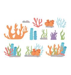 Life coral reef algae stones cartoon under sea vector